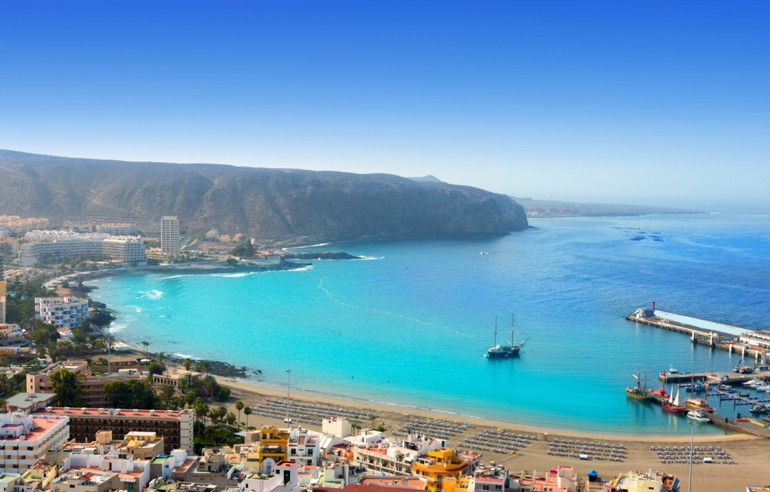 'Aerial view of Los Cristianos beach in Arona Tenerife Canary Islands' - Teneriffa